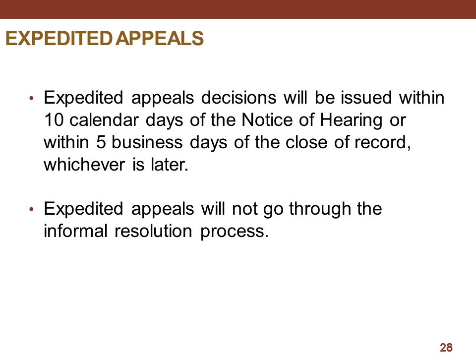 EXPEDITED APPEALS