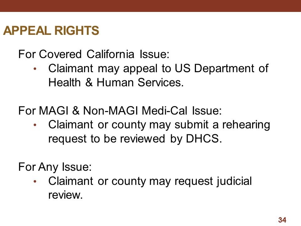 APPEAL RIGHTS For Covered California Issue: