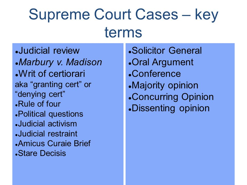 Supreme Court Cases – key terms