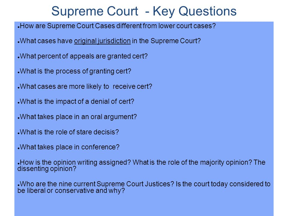 Supreme Court - Key Questions