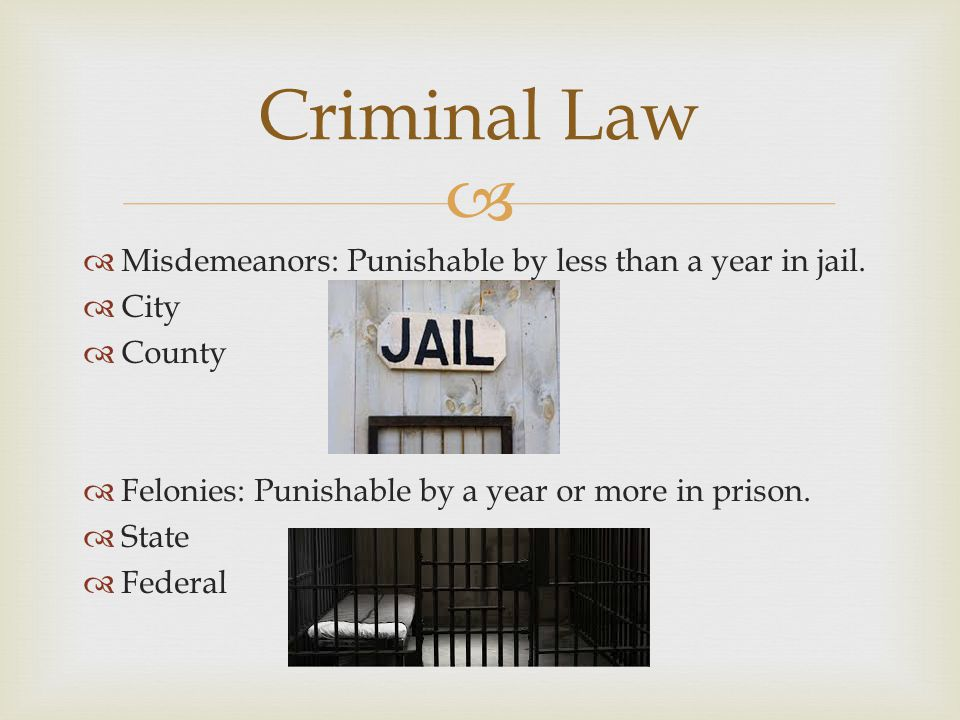 Criminal Law Misdemeanors: Punishable by less than a year in jail.