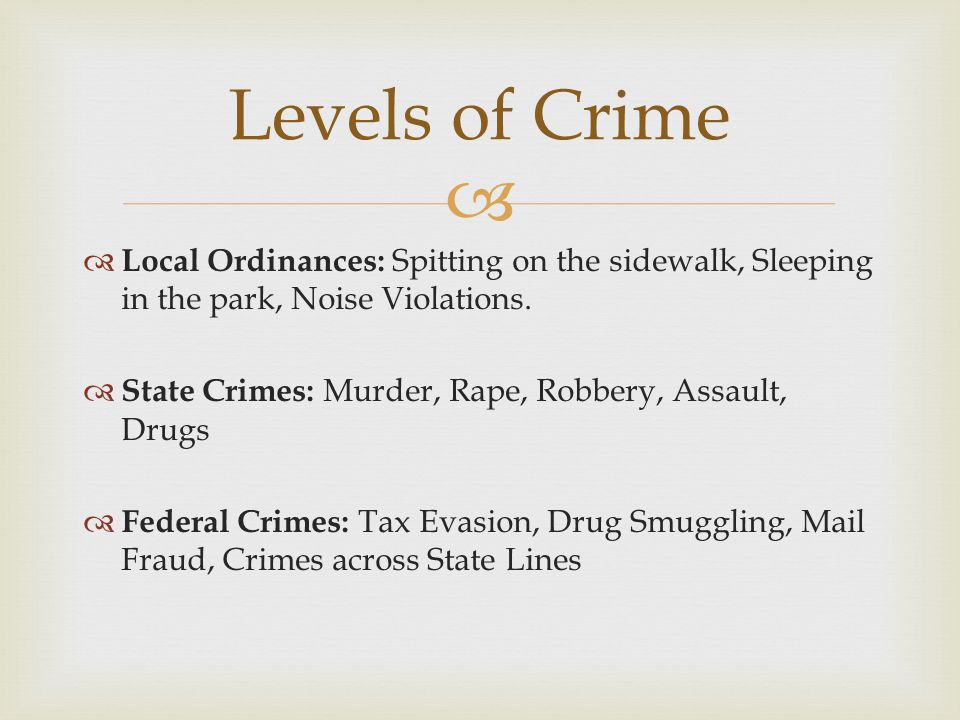 Levels of Crime Local Ordinances: Spitting on the sidewalk, Sleeping in the park, Noise Violations.