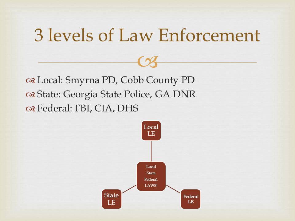 3 levels of Law Enforcement