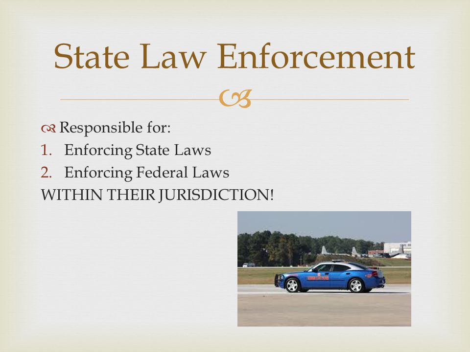 State Law Enforcement Responsible for: Enforcing State Laws