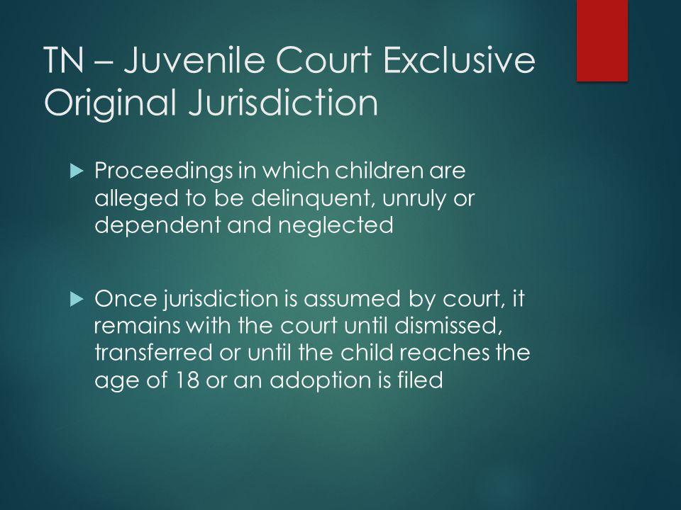 TN – Juvenile Court Exclusive Original Jurisdiction
