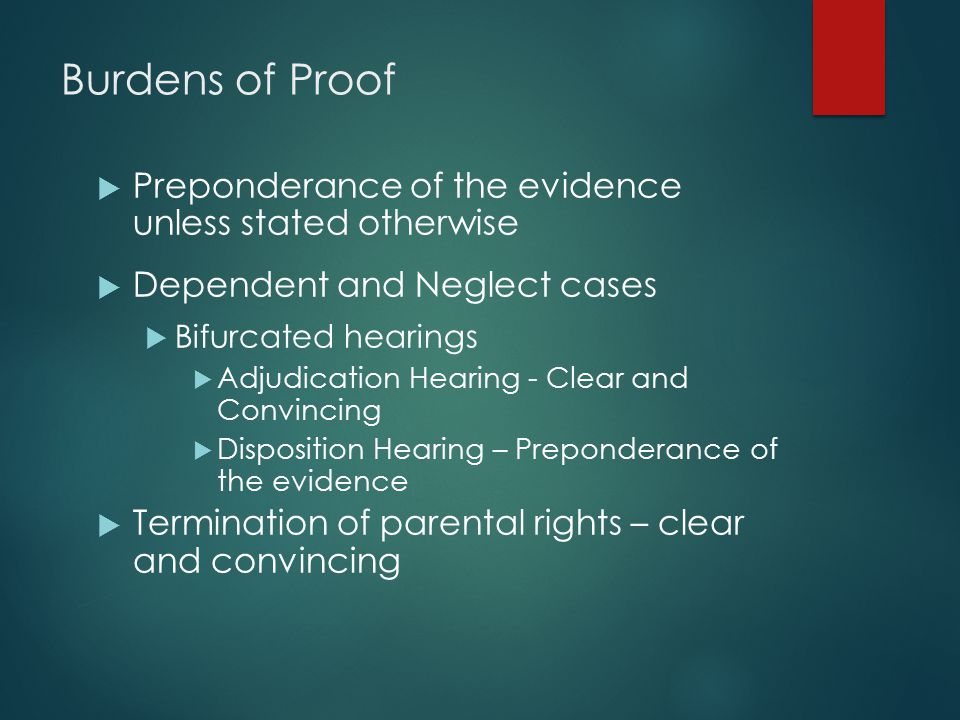 Burdens of Proof Preponderance of the evidence unless stated otherwise