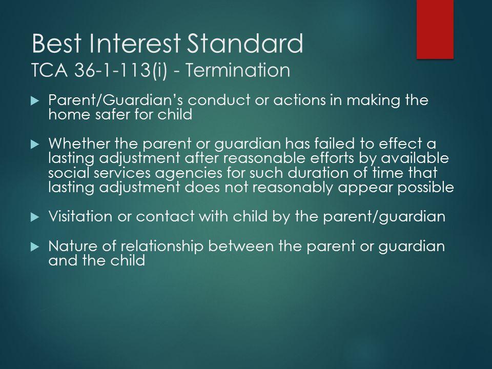Best Interest Standard TCA 36-1-113(i) - Termination