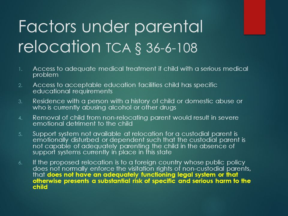 Factors under parental relocation TCA § 36-6-108
