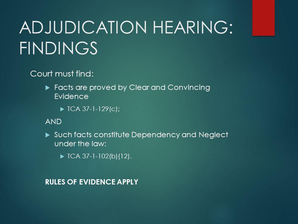 ADJUDICATION HEARING: FINDINGS