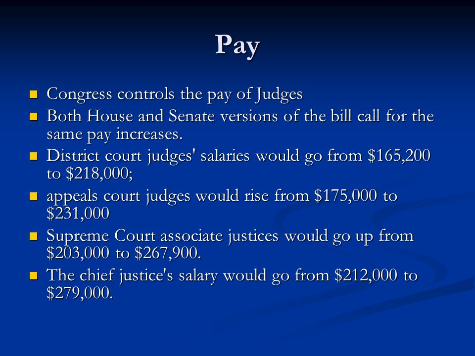 Pay Congress controls the pay of Judges