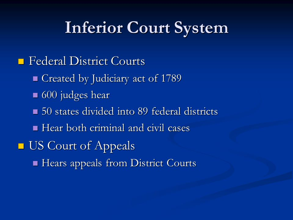 Inferior Court System Federal District Courts US Court of Appeals