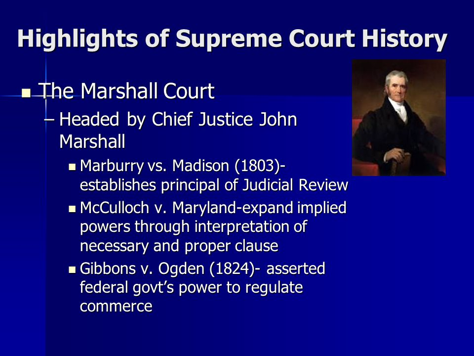 Highlights of Supreme Court History