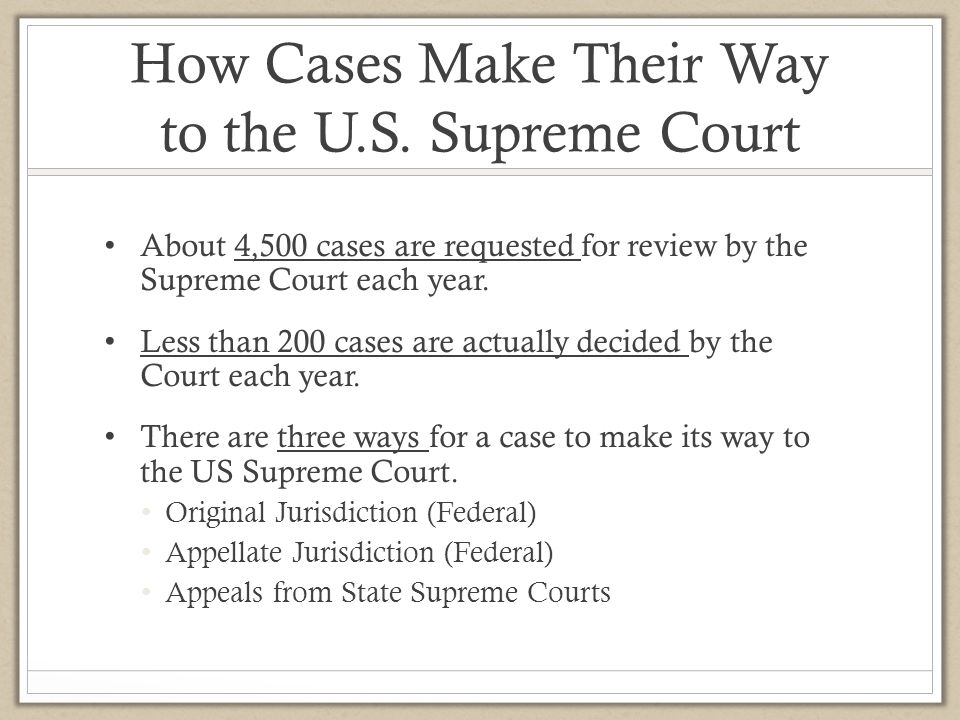 How Cases Make Their Way to the U.S. Supreme Court