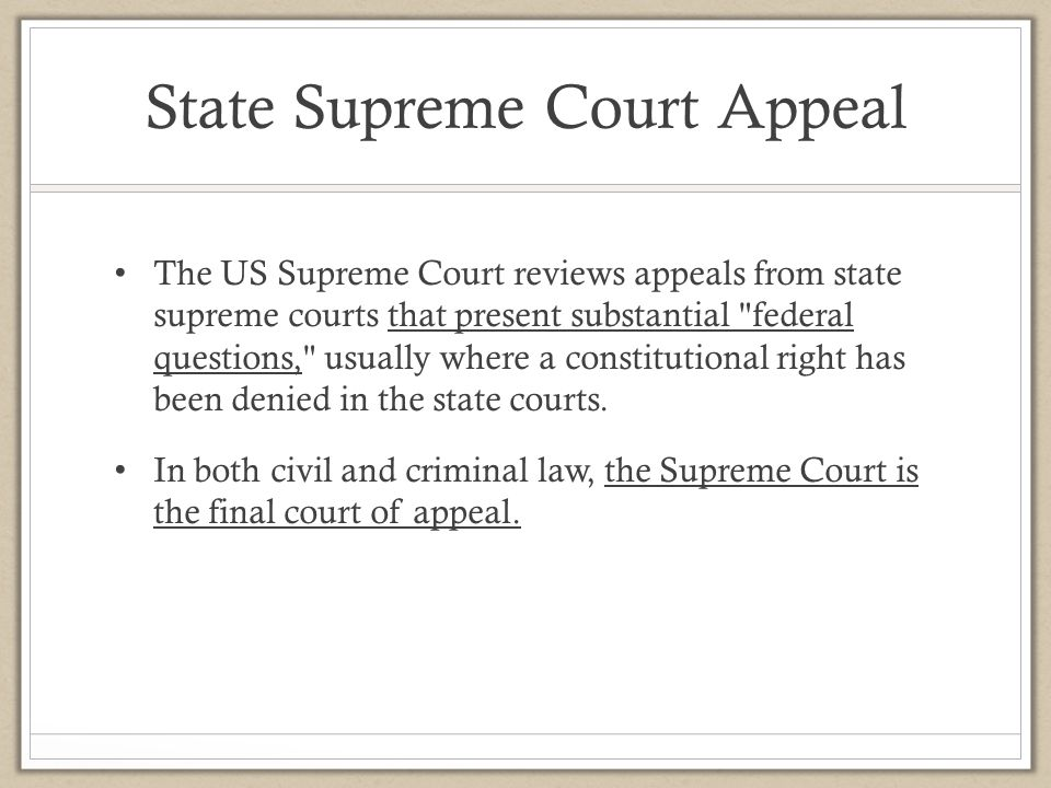 State Supreme Court Appeal
