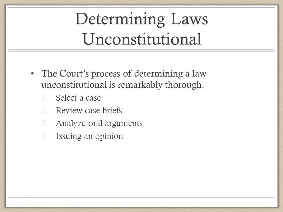 Determining Laws Unconstitutional