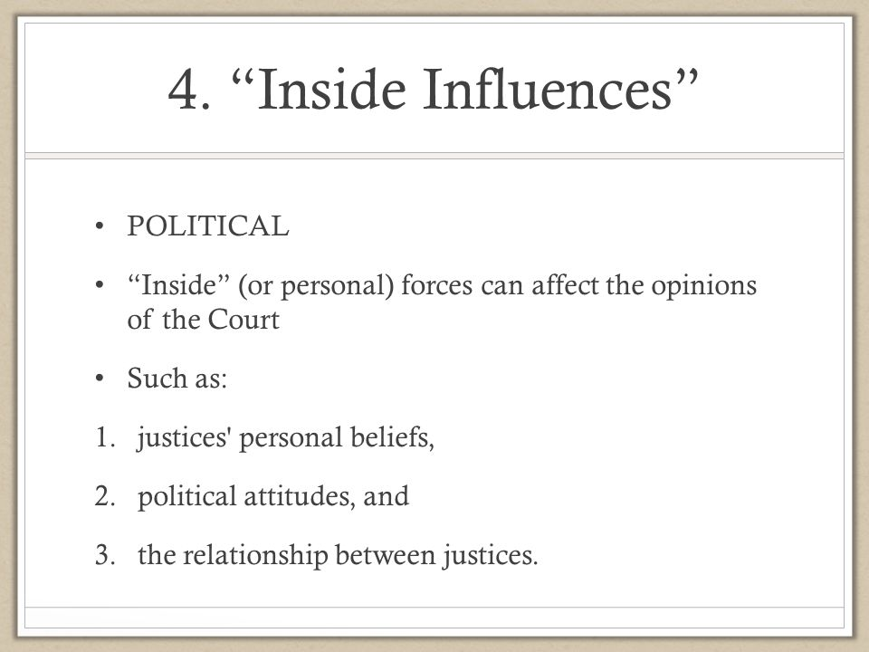 4. Inside Influences POLITICAL