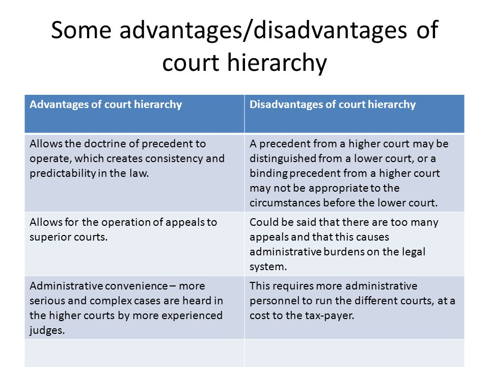 Some advantages/disadvantages of court hierarchy