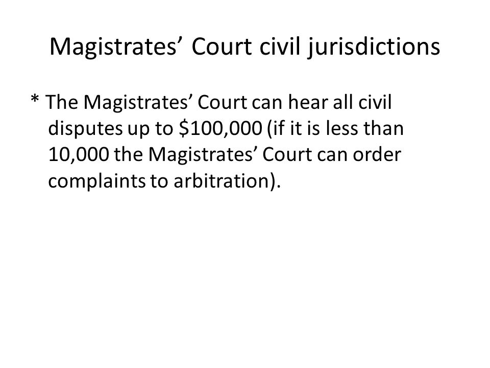Magistrates' Court civil jurisdictions