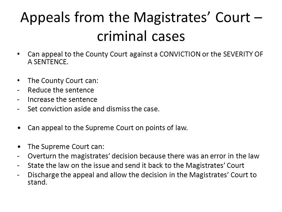 Appeals from the Magistrates' Court – criminal cases