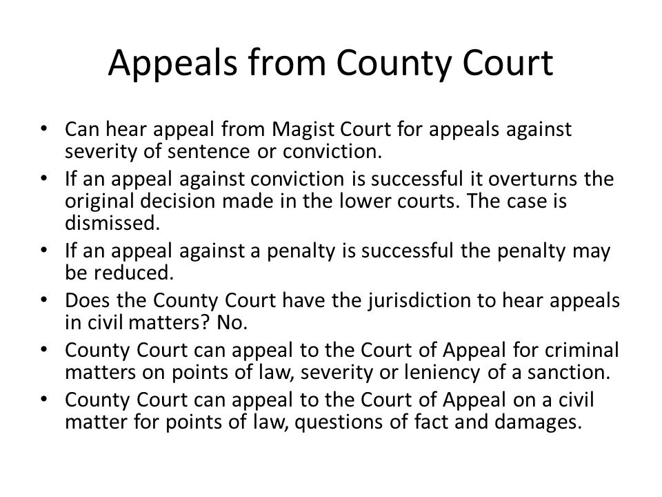 Appeals from County Court