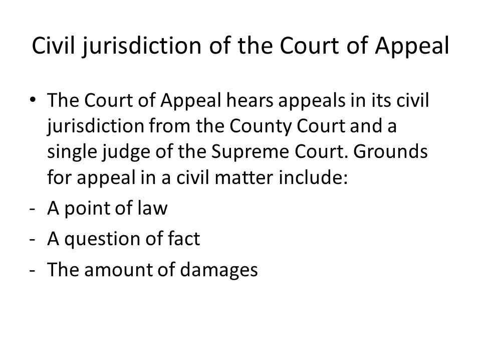 Civil jurisdiction of the Court of Appeal