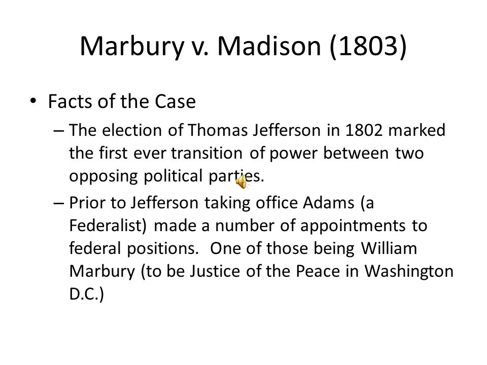 Marbury v. Madison (1803) Facts of the Case