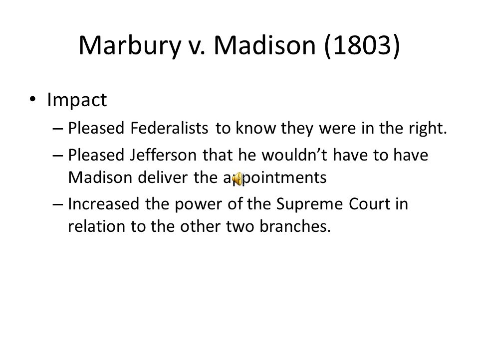 Marbury v. Madison (1803) Impact