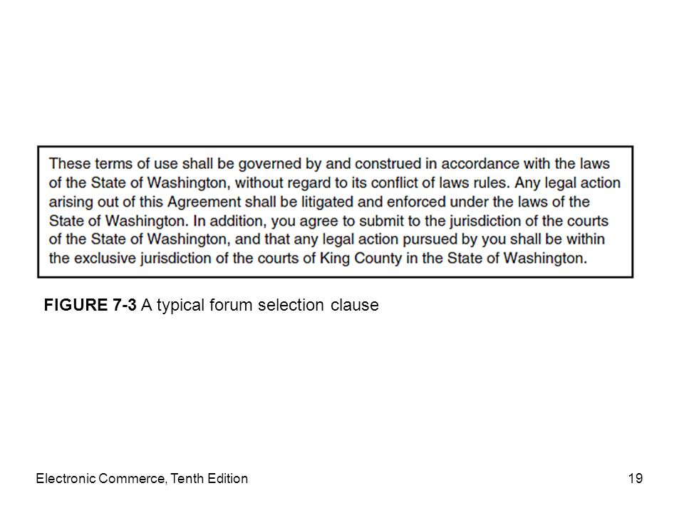 FIGURE 7-3 A typical forum selection clause
