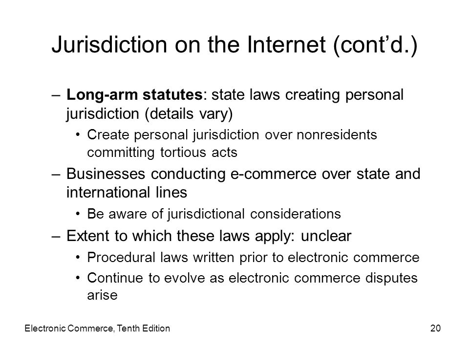 Jurisdiction on the Internet (cont'd.)