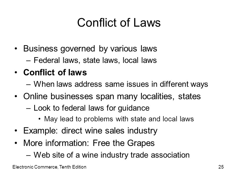 Conflict of Laws Business governed by various laws Conflict of laws