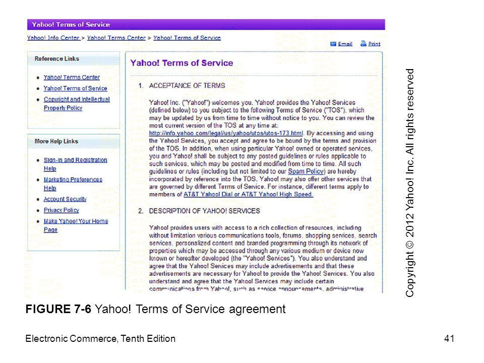 FIGURE 7-6 Yahoo! Terms of Service agreement