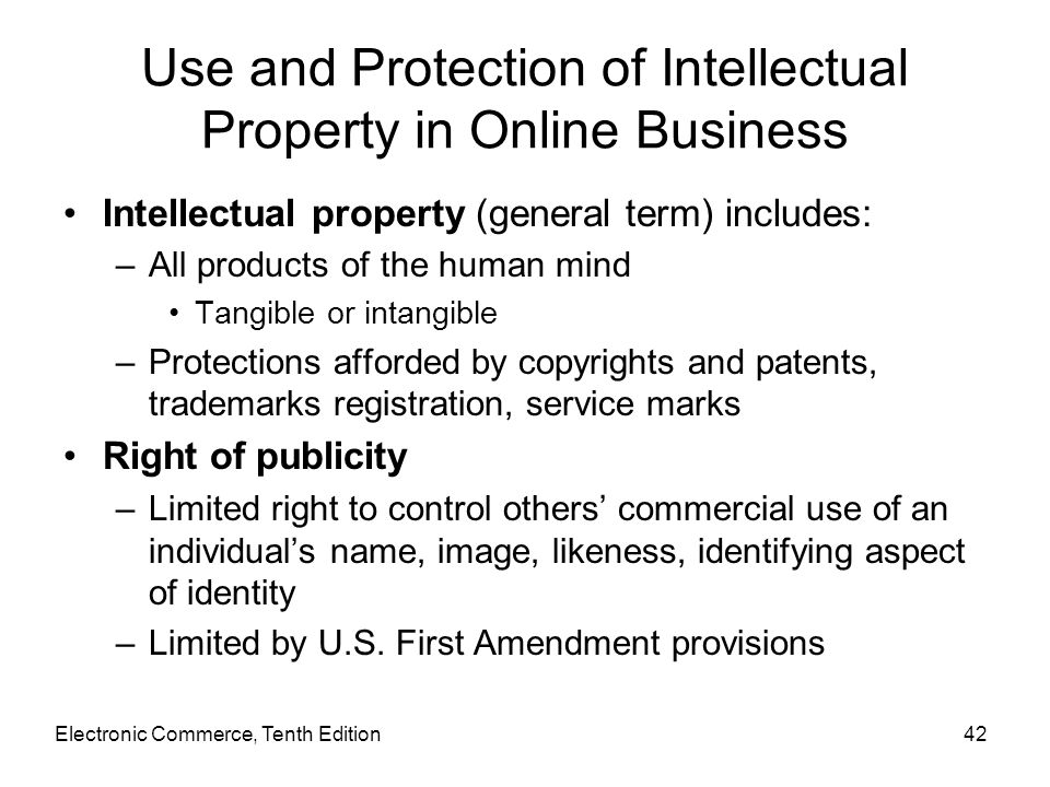 Use and Protection of Intellectual Property in Online Business
