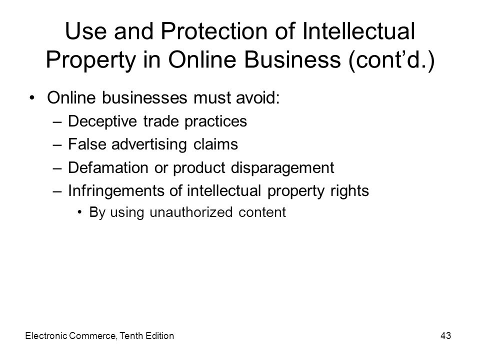 Use and Protection of Intellectual Property in Online Business (cont'd