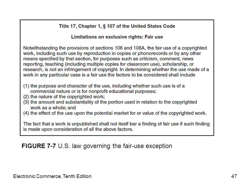 FIGURE 7-7 U.S. law governing the fair-use exception