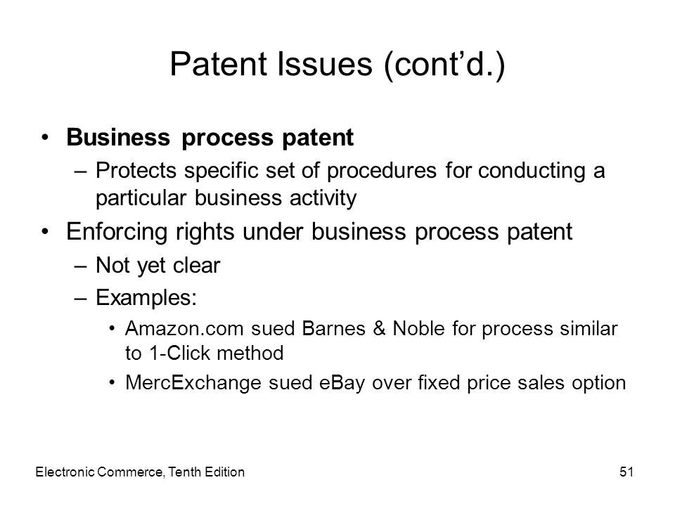 Patent Issues (cont'd.)