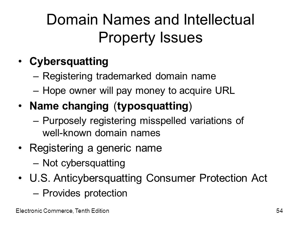 Domain Names and Intellectual Property Issues