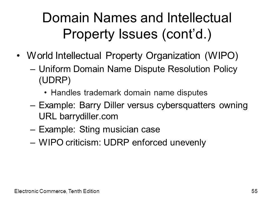 Domain Names and Intellectual Property Issues (cont'd.)