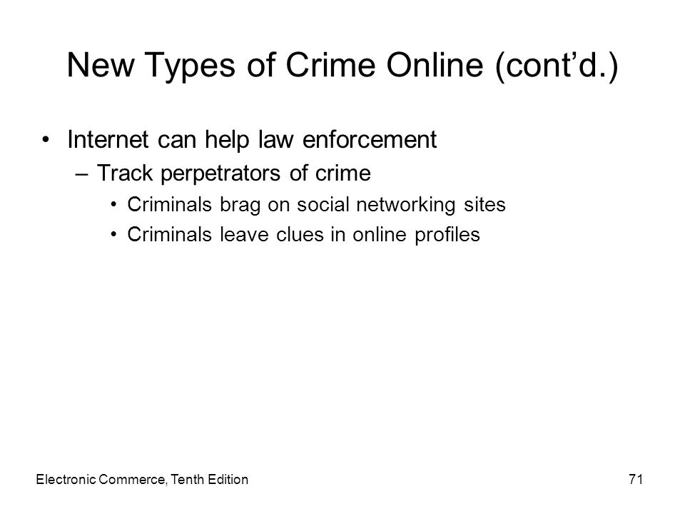 New Types of Crime Online (cont'd.)