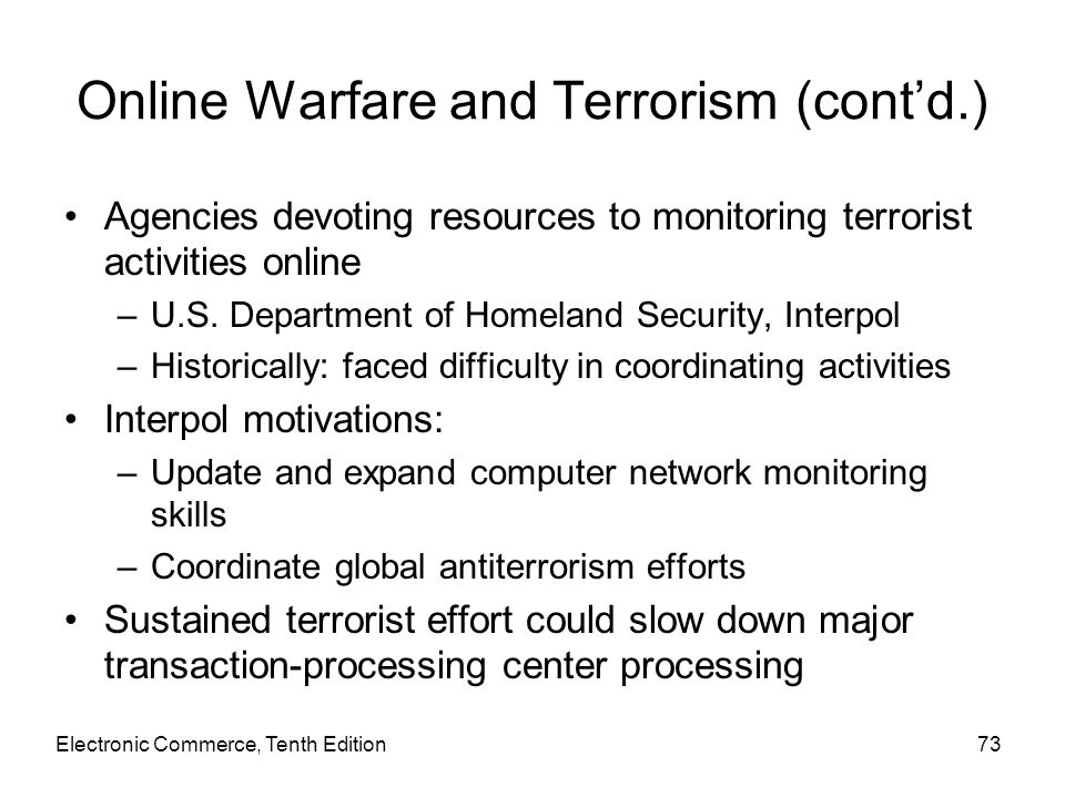 Online Warfare and Terrorism (cont'd.)