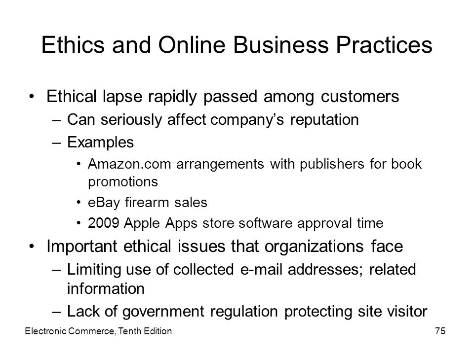 Ethics and Online Business Practices