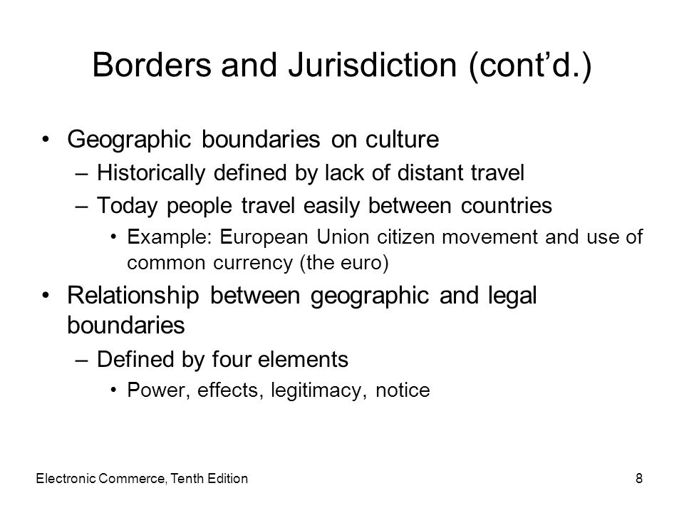 Borders and Jurisdiction (cont'd.)