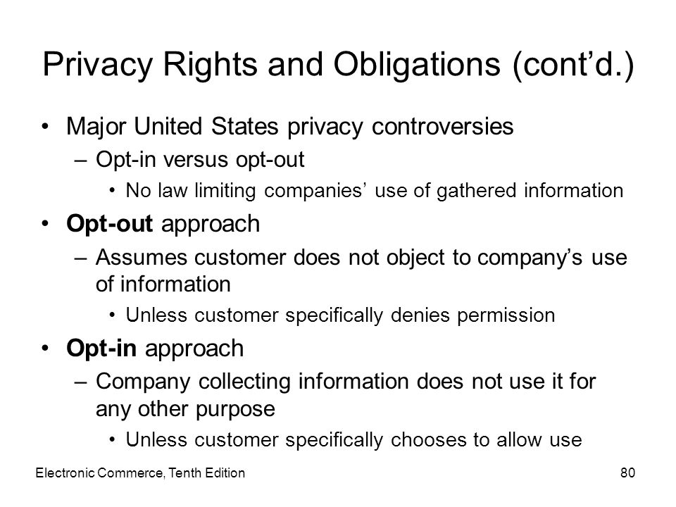 Privacy Rights and Obligations (cont'd.)
