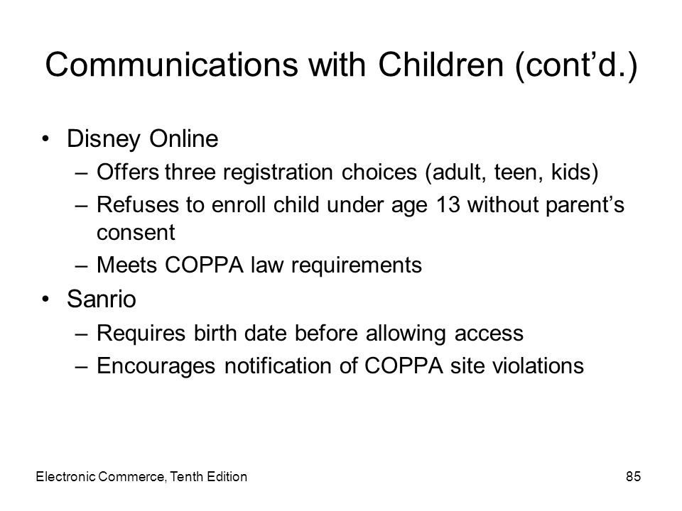 Communications with Children (cont'd.)