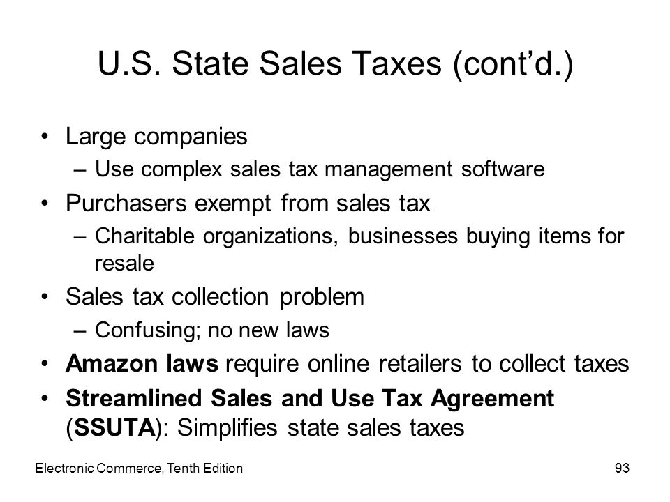 U.S. State Sales Taxes (cont'd.)