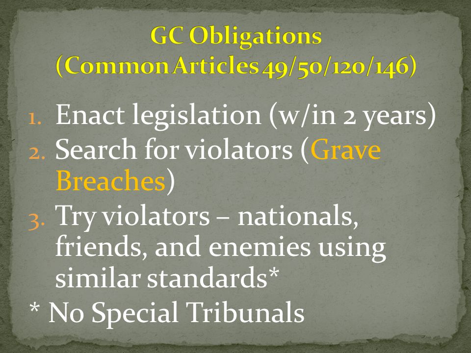 GC Obligations (Common Articles 49/50/120/146)