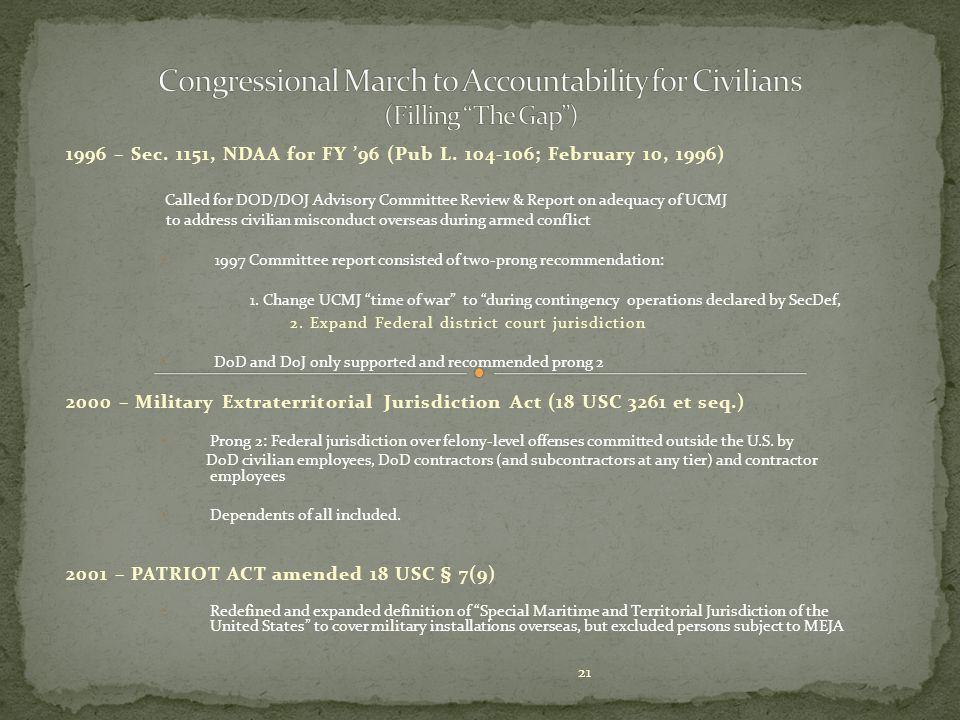 Congressional March to Accountability for Civilians (Filling The Gap )
