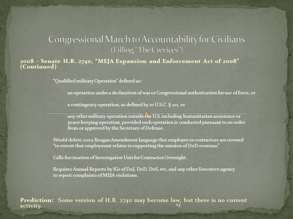 Congressional March to Accountability for Civilians (Filling The Crevices )