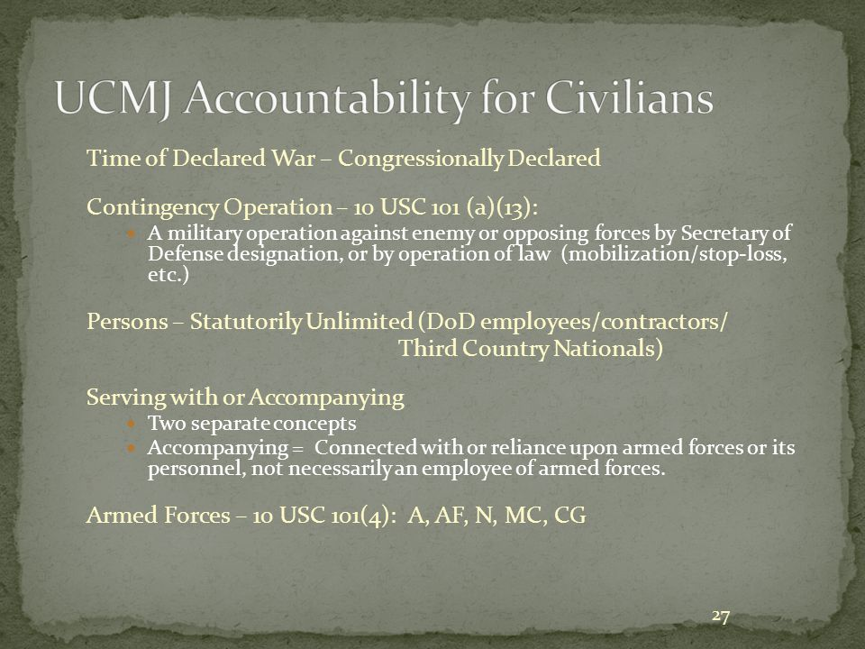 UCMJ Accountability for Civilians