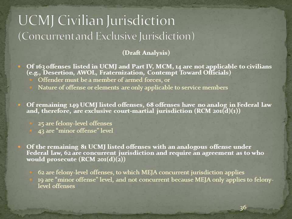 UCMJ Civilian Jurisdiction (Concurrent and Exclusive Jurisdiction)