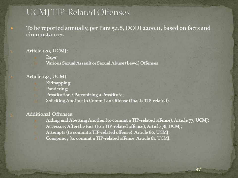 UCMJ TIP-Related Offenses
